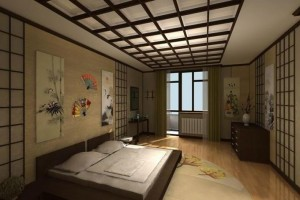 интерьер спальни японском стиле