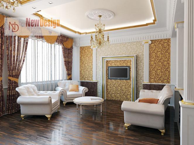 фото дизайна зала в классическом стиле