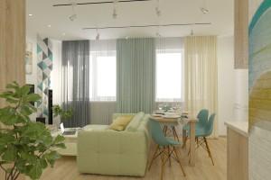 Дизайн интерьера 1-но к. кв. 45 м2, ЖК «Петровский квартал», фото 6