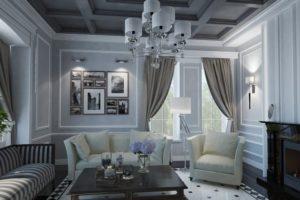 сочетание цветов интерьера Гостиная серый