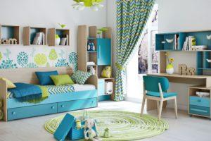 сочетание цветов интерьера детская для мальчика