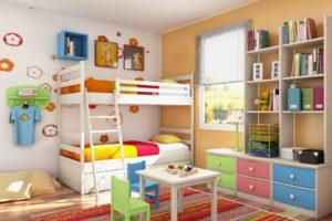 сочетание цветов интерьера детская економия пространства