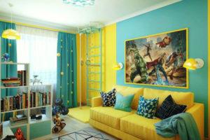 сочетание цветов интерьера детская желтый