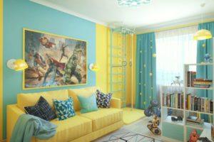 сочетание цветов интерьера детская простой