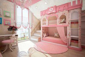 сочетание цветов интерьера детская розовая