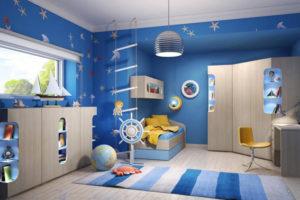 сочетание цветов интерьера детская синяя