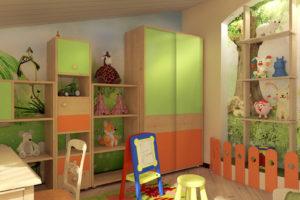 сочетание цветов интерьера детская