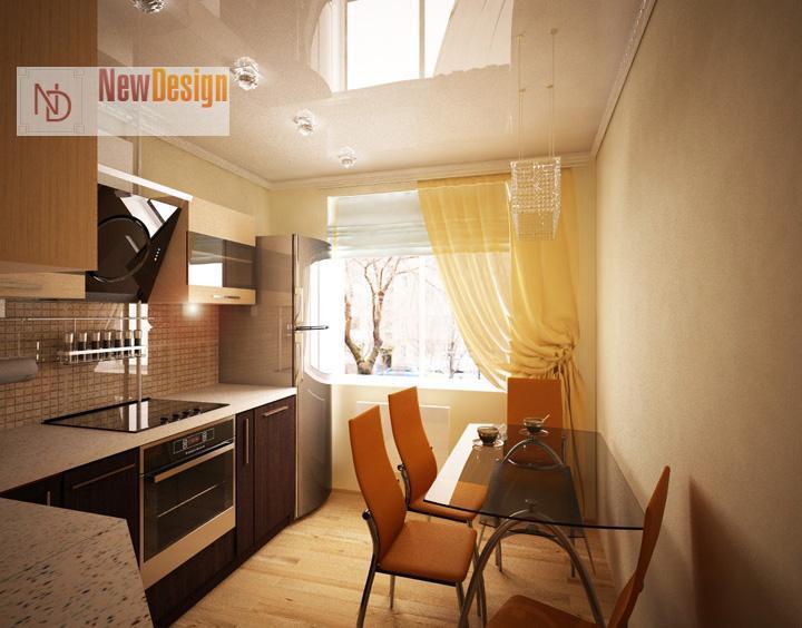 Маленькая кухня с балконом дизайн 9 кв м с холодильником