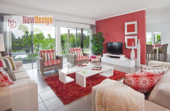 Дизайн гостиной в красных тонах - фото 15