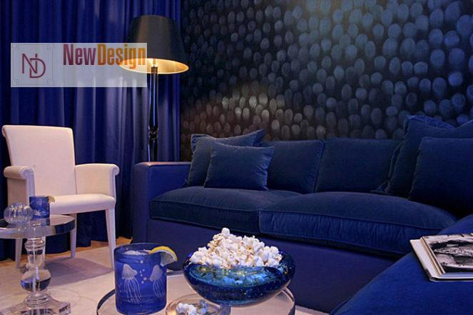 Дизайн гостиной в синих тонах - фото 20