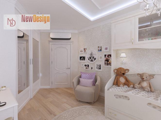 Дизайн детской комнаты в белых тонах - фото 18