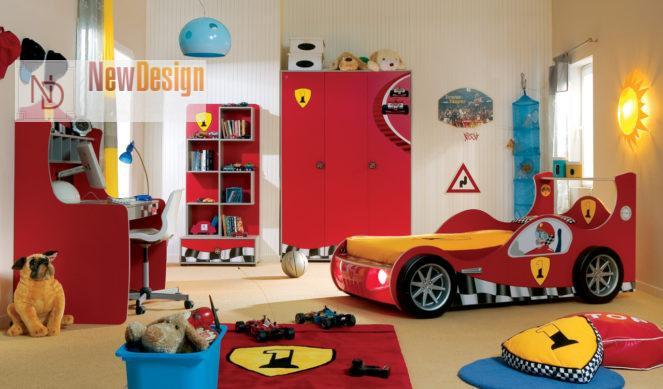 Дизайн детской комнаты в красных тонах - фото 17