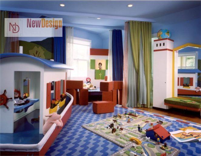 Дизайн детской комнаты в синих тонах - фото 22