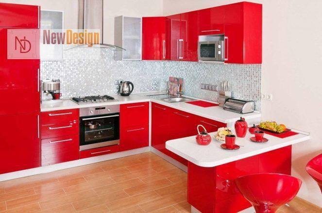 Дизайн кухни красного цвета - фото 12