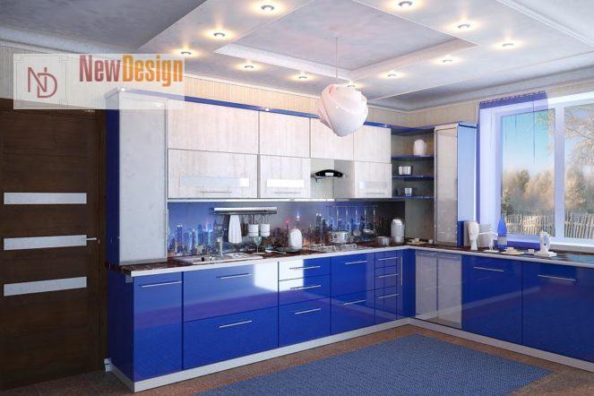 Дизайн кухни синего цвета - фото 17
