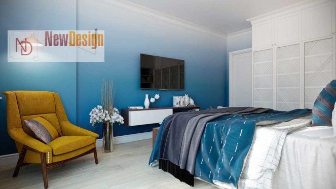 Дизайн спальни в синих тонах - фото 18