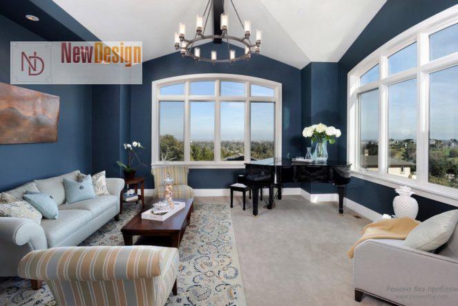 Интерьер гостиной в синем цвете - фото 21
