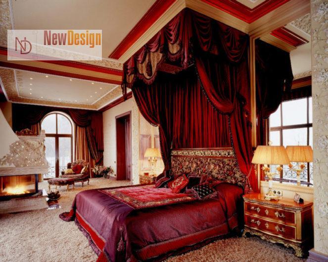Интерьер спальни в красном цвете - фото 14