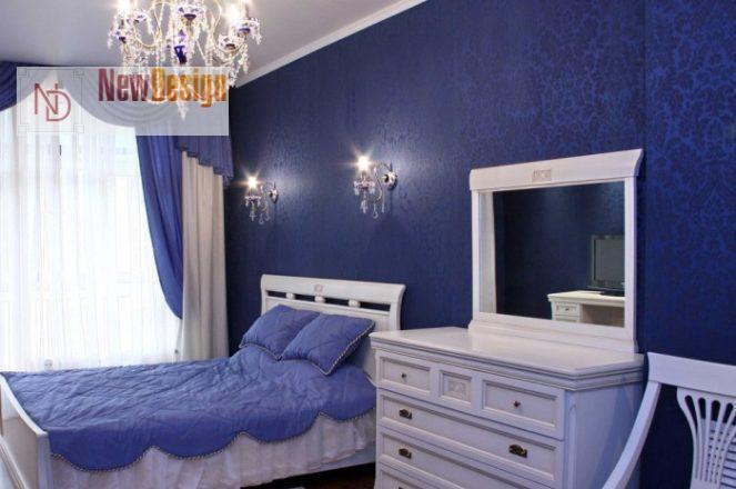 Интерьер спальни в синем цвете - фото 19