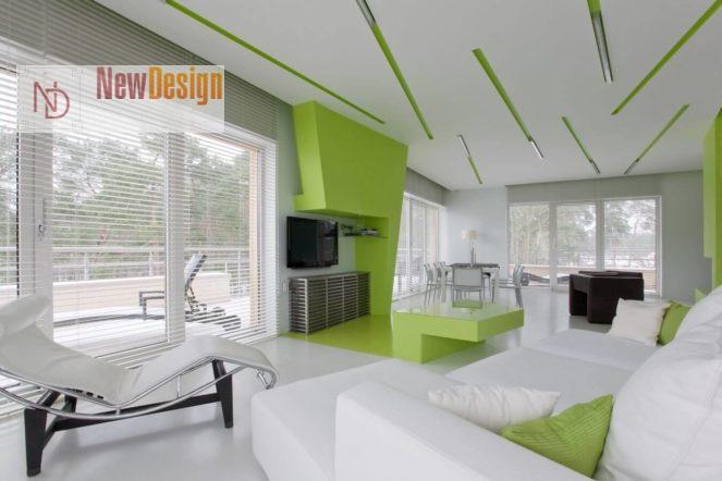 Сочетание белого и зеленого цветов в интерьере - фото 9