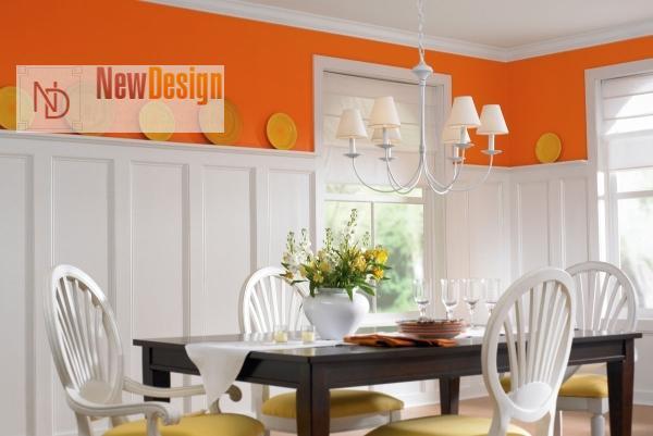 Сочетание белого и оранжевого цветов в интерьере - фото 5