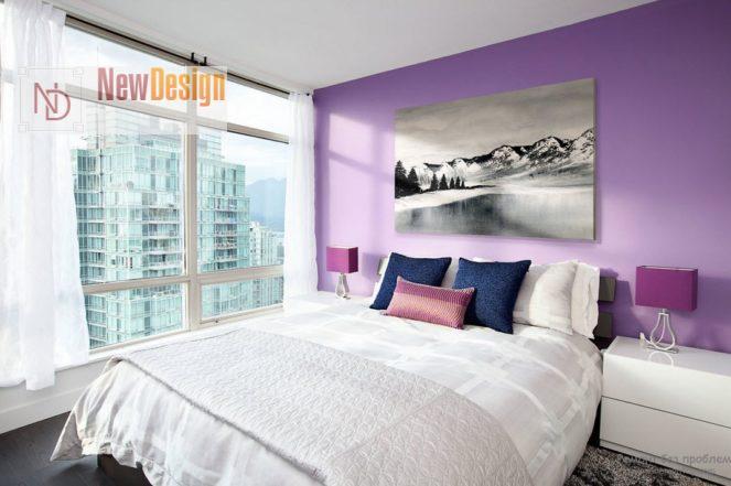 Сочетание белого и фиолетового цветов в интерьере - фото 6