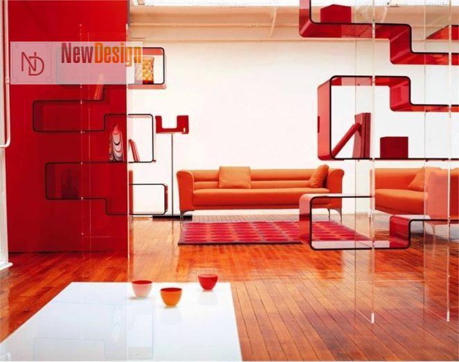 Сочетание красного и оранжевого цветов в интерьере - фото 8