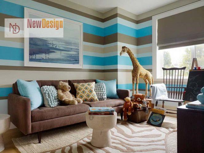 Сочетание синего и бежевого цветов в интерьере - фото 10