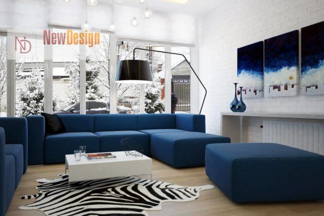 Сочетание синего и белого цветов в интерьере - фото 3