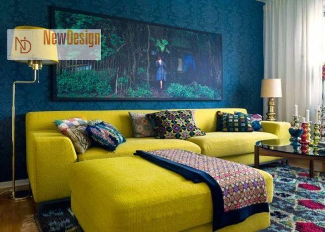 Сочетание синего и желтого цветов в интерьере - фото 5
