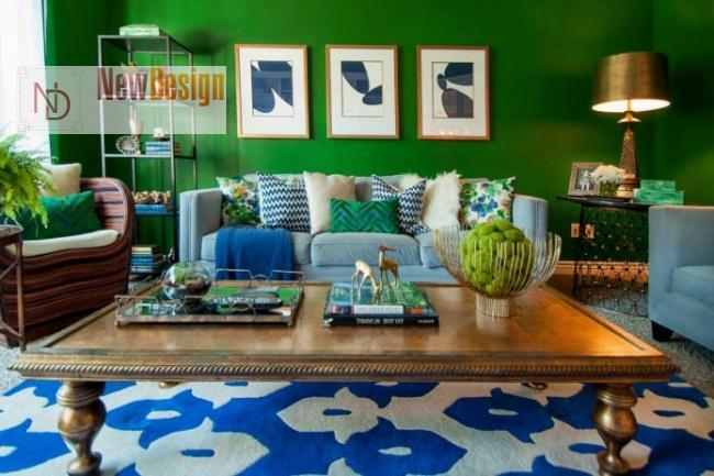 Сочетание синего и зеленого цветов в интерьере - фото 11
