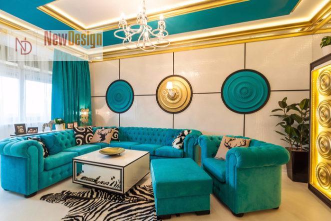 Сочетание синего и золотого цветов в интерьере - фото 14