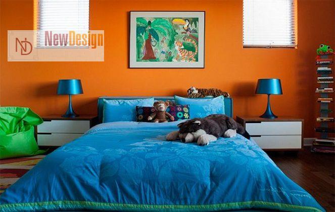 Сочетание синего и оранжевого цветов в интерьере - фото 6