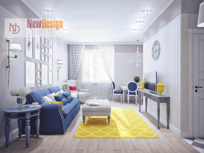 Сочетание белого и синего цветов в интерьере - фото 10