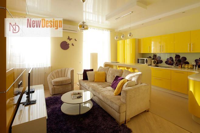 Дизайн гостиной в желтых тонах - фото 14