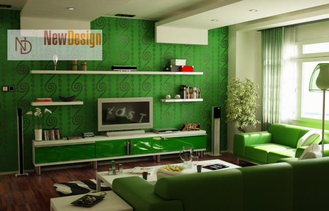 Дизайн гостиной в зеленых тонах - фото 14