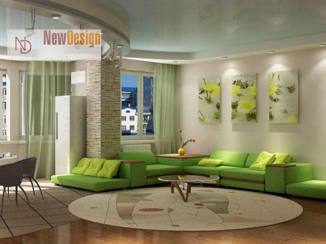 Интерьер гостиной в зеленом цвете - фото 15