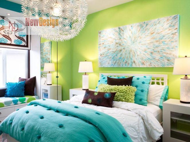 Интерьер спальни в зеленом цвете - фото 13