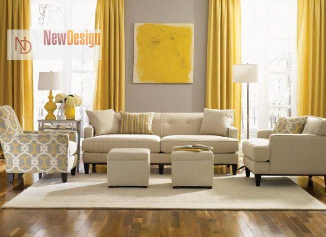 Сочетание желтого и бежевого цветов в интерьере - фото 4