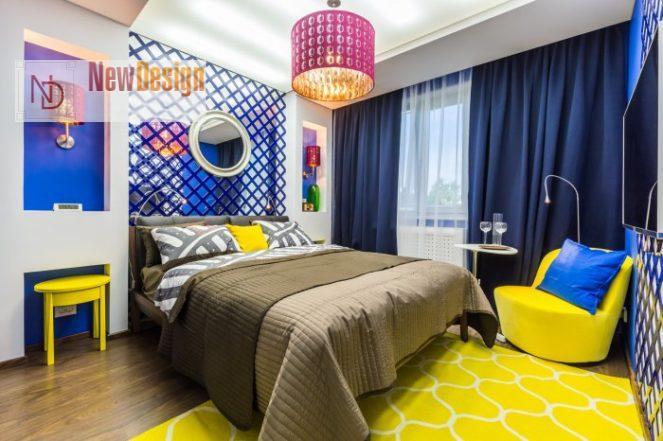 Сочетание желтого и синего цветов в интерьере - фото 7