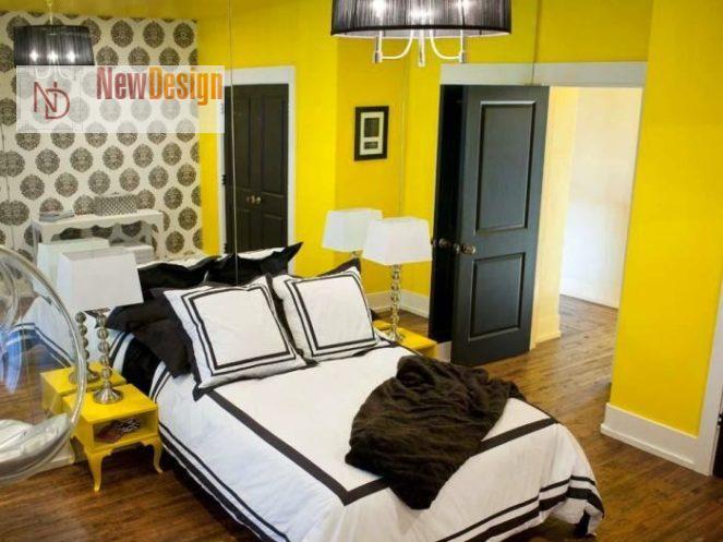Сочетание желтого и черного цветов в интерьере - фото 5
