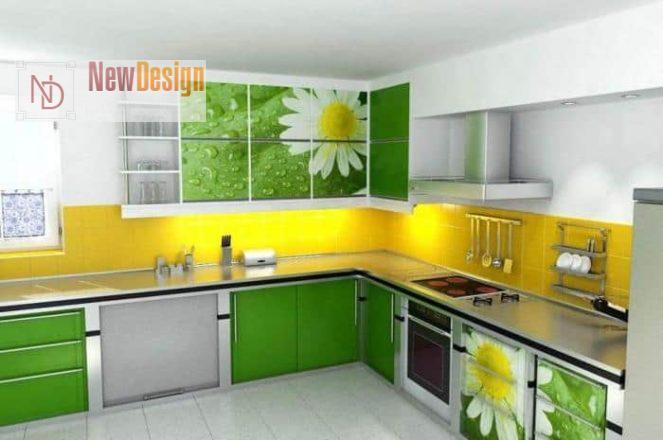Сочетание зеленого и желтого цветов в интерьере - фото 7
