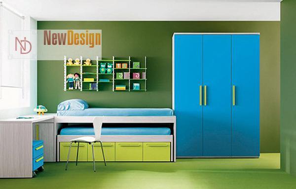 Сочетание зеленого и синего цветов в интерьере - фото 6