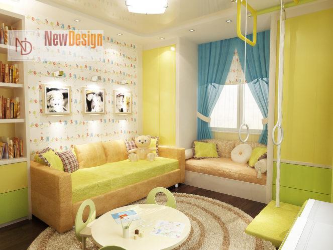 нтерьер детской в желтом цвете - фото 17