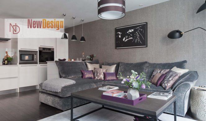 Дизайн гостиной в серых тонах - фото 17