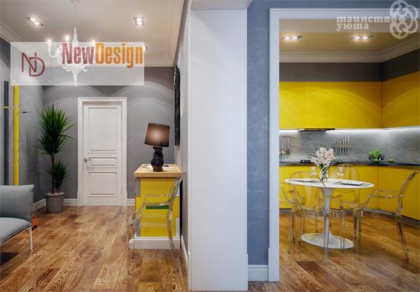 Сочетание серого и желтого цветов в интерьере - фото 5