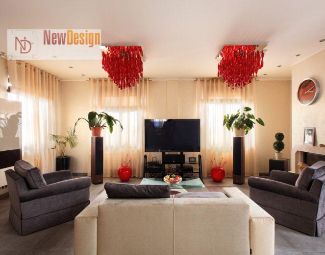 Сочетание серого и красного цветов в интерьере - фото 7