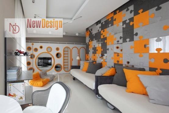 Сочетание серого и оранжевого цветов в интерьере - фото 8