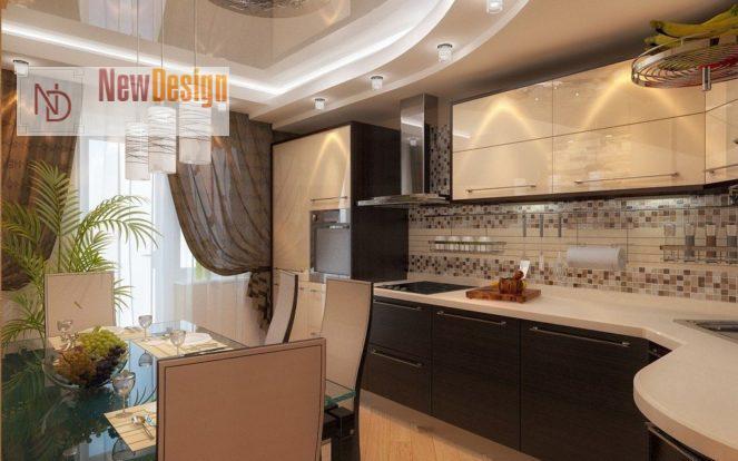 Дизайн бежевый кухни - фото 9