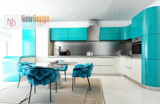 Дизайн бирюзовой кухни - фото 12
